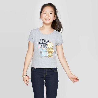 Girls' Star Wars Cap Sleeve T-Shirt - Heather Gray