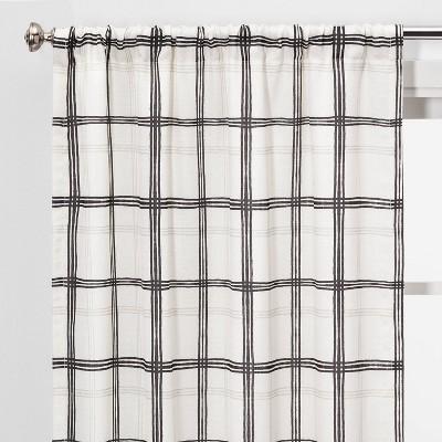 "2pc 40""x84"" Light Filtering Plaid Window Curtain Panels Black/White - Threshold™"