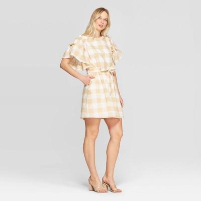 Women's Short Ruffle Sleeve Boat Neck Tie Waist Shift Dress - Who What Wear™