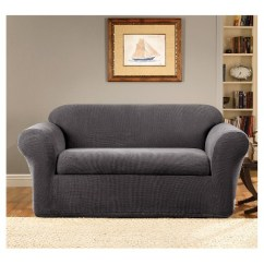 Target Sofa Loveseat Covers Bobs Bed Sectional Oxford 2 Piece Slipcover Gray Sure Fit