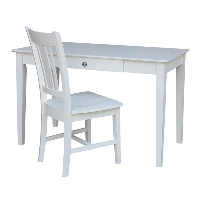 Basic Size Desk with Drawer and Chair Beach White - International Concepts