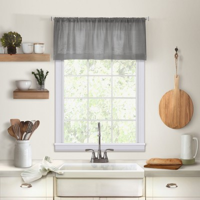 "Cameron Linen Rod Pocket Kitchen Window Valance - 60"" x 15"" - Elrene Home Fashions"