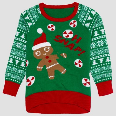Toddler Girls' Ugly Holiday Sweater - Green