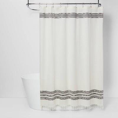 striped fringe shower curtain off white threshold