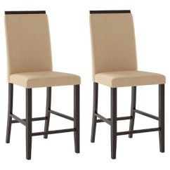 Upholstered Counter Chairs Porch Rocking Bistro Height Dining Chair Wood Desert Sand Set Of 2 Corliving Target
