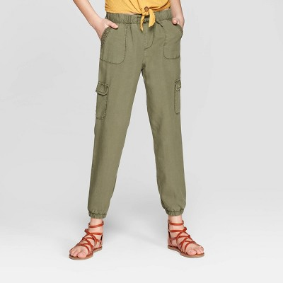 Girls' Trimmed Cargo Pants - art class™ Olive