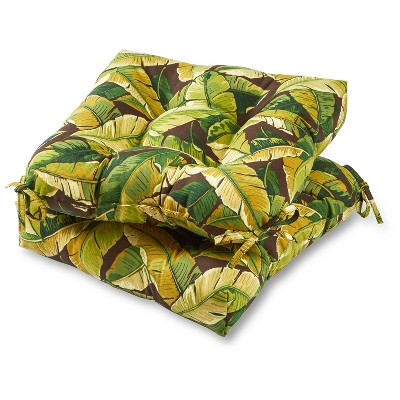 green chair cushions pembrook corp set of 2 outdoor palm leaves greendale home