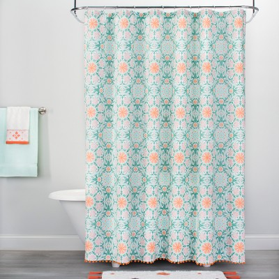 medallion print with pom fringe shower curtain green orange opalhouse