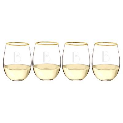 Cathy's Concepts 19.25oz 4pk Monogram Gold Rim Stemless Wine Glasses A-Z