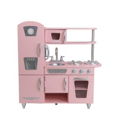 kidkraft toy kitchen blue appliances vintage pink target