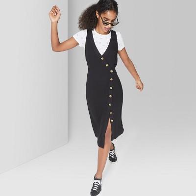 Women's Sleeveless Button Front Midi Dress - Wild Fable™ Black