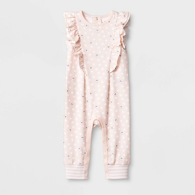 Baby Girls' Sleeveless Ruffle Bunny Long Romper - Cat & Jack™ Peach