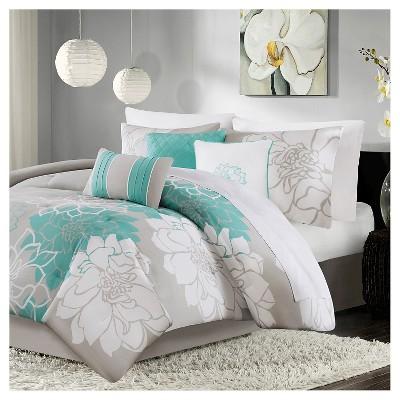 Jane Floral Print Comforter Set Aqua - 7pc