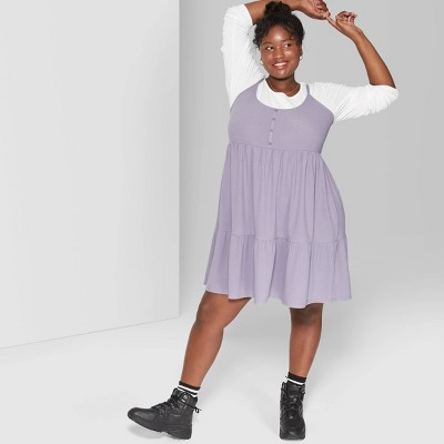 Women's Plus Size Strappy Scoop Neck Button-Front Tiered Knit Swing Dress - Wild Fable™