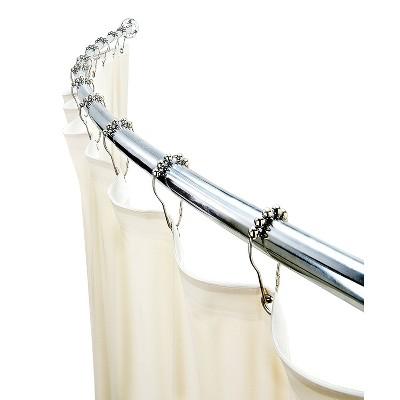 curved wall mountable shower rod chrome bath bliss