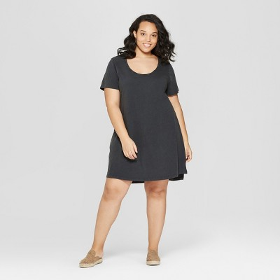 Women's Plus Size Short Sleeve Scoop Neck T-Shirt Dress - Universal Thread™ Gray