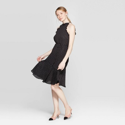 Women's Polka Dot Short Sleeve Halter Neck A Line Dress - Who What Wear™ Black