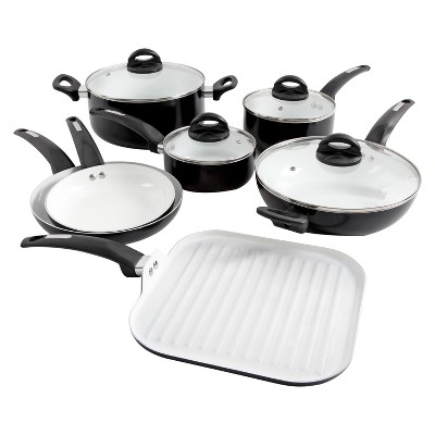 kitchen pan set backsplashes for kitchens oster herstal 11pc white ceramic interior aluminum cookware about this item