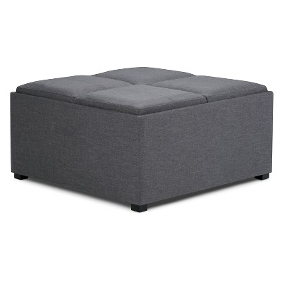 35 franklin square coffee table storage ottoman slate gray linen look fabric wyndenhall