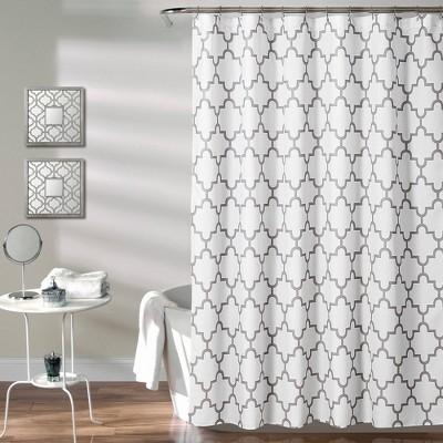 geometric shower curtain gray lush decor