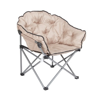 padded camping chair step 2 chairs mac sports foldable outdoor club with carry bag beige target