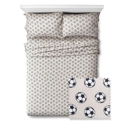 full soccer sheet set gray black pillowfort