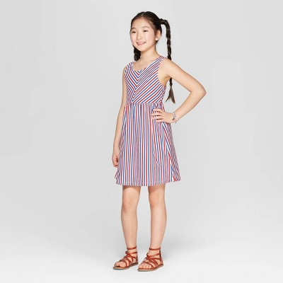 Girls' Americana Stripe A Line Dress - Cat & Jack™ White/Blue