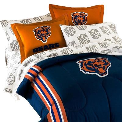3pc nfl twin full comforter set football team logo comforter and orange pillow shams chicago bears