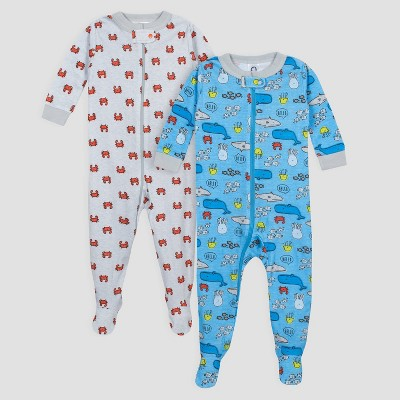 Gerber Baby Boys' 2pk Under the Sea Long Sleeve Footed Unionsuit Pajama Set - Blue/Gray