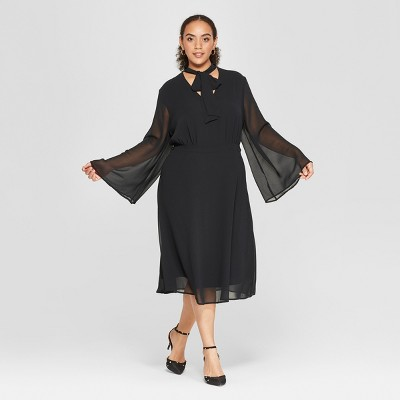 Women's Plus Size Long Sleeve Tie Neck Midi Dress - Who What Wear™