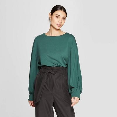 Women's Long Sleeve Crewneck Knit T-Shirt - Prologue™ Green