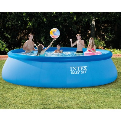 "Intex 15' X 42"" Inflatable Easy Set Swimming Pool And Debris Vinyl Cover Tarp"