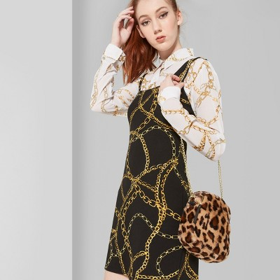 Women's Strappy Knit Chain Print Dress - Wild Fable™ Black