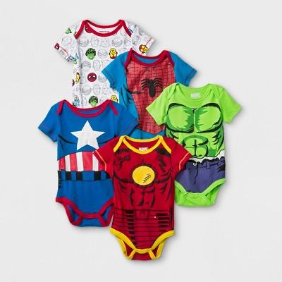 Baby Boys' 5pk Marvel Spider-Man, Iron Man, Hulk, & Captain America Short Sleeve Bodysuit - Red/White