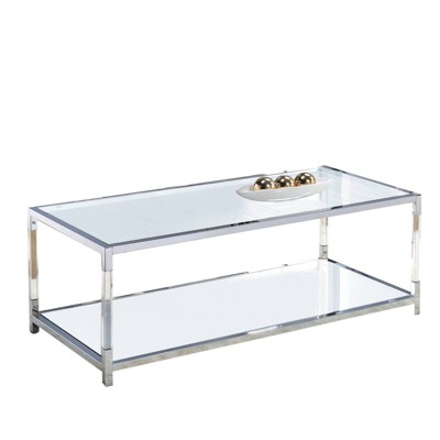 glass top metal coffee table with open bottom shelf clear silver benzara