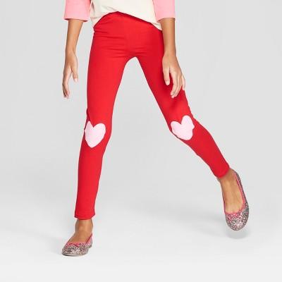 Girls' Valentine's Day Leggings - Cat & Jack™ Red