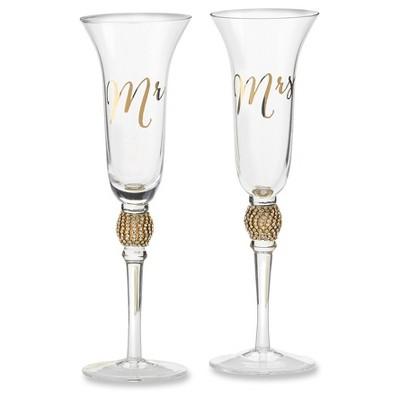 Kate Aspen Mr. & Mrs. Gold Glitter Rhinestone Toasting Flutes