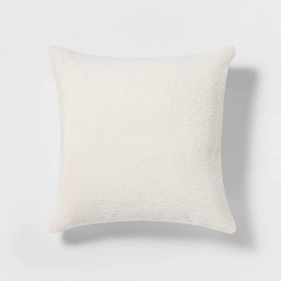 24 x24 oversized faux rabbit fur square throw pillow cream threshold
