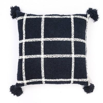 24 x24 plaid boucle woven throw pillow navy evergrace