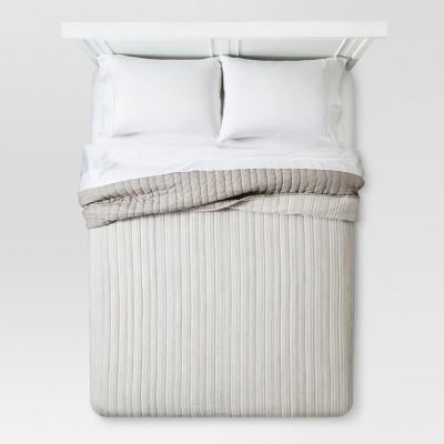 Gray Stitched Stripe Quilt - Threshold™