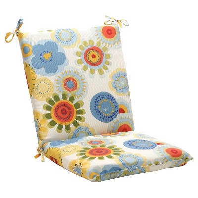 outdoor chair cushion blue white yellow floral