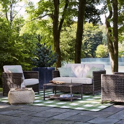 monroe 4pc patio conversation set tan threshold