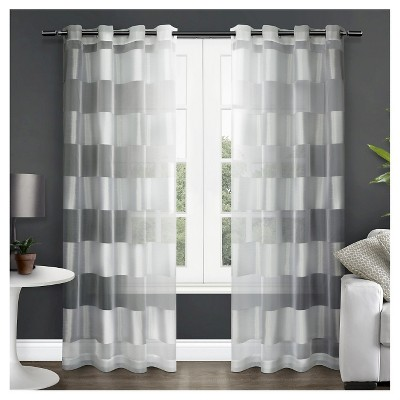 Set of 2 Navaro Striped Sheer Grommet Top Window Curtain Panels White Exclusive Home