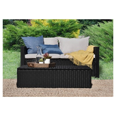 laguna 2pc all weather wicker patio storage sofa coffee table black wicker serta
