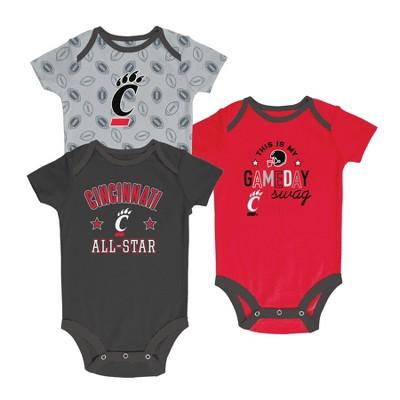 Cincinnati Bearcats Baby Boy Short Sleeve 3pk Bodysuit