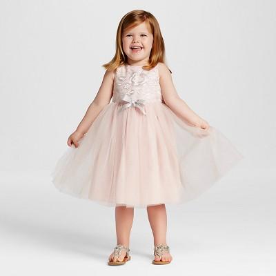 Toddler Girls' Sparkle Mesh Flower Girl Dress - Tevolio™ Pink/Silver 2T