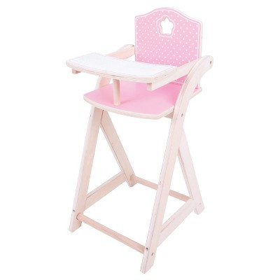 baby doll high chairs barcelona chair cushions and straps bigjigs toys wooden for 10 12 target