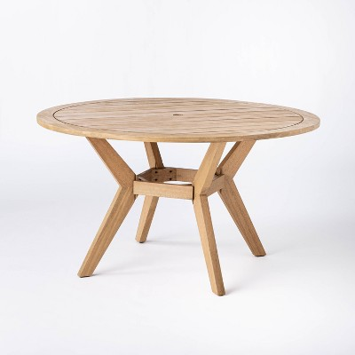 bluffdale 6 person wood round patio dining table threshold designed with studio mcgee