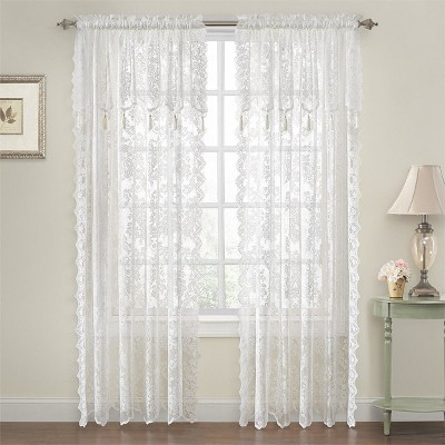 goodgram shabby chic lace curtain panels with attached valance 52 in w x 84 in l white