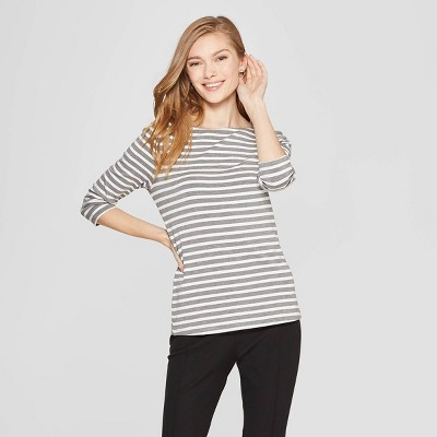 Women's Striped 3/4 Sleeve Clean Boat Neck T-Shirt - A New Day™